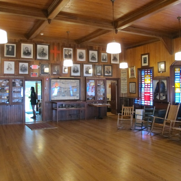 Inside the 5th Maine's lodge.