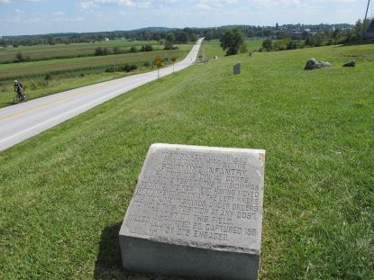 The 16th Maine's position marker on Oak Ridge (Tom Huntington photo).