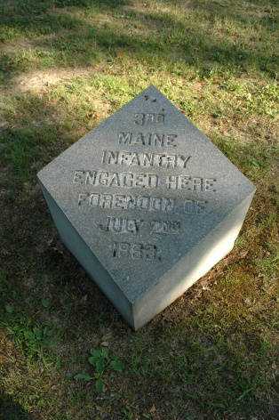 The marker in Pitzer's Woods noting the 3rd Maine's actions there on July 2.
