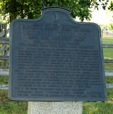The marker for Ames's brigade on Barlow Knoll (Tom Huntington photo).