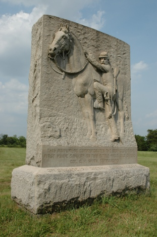The 1st Maine Cavalry's monument at Gettysburg is at the East Cavalry Field battle site (Tom Huntington photo).